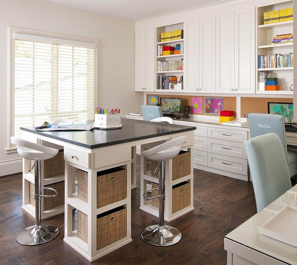 built in desks and study areas