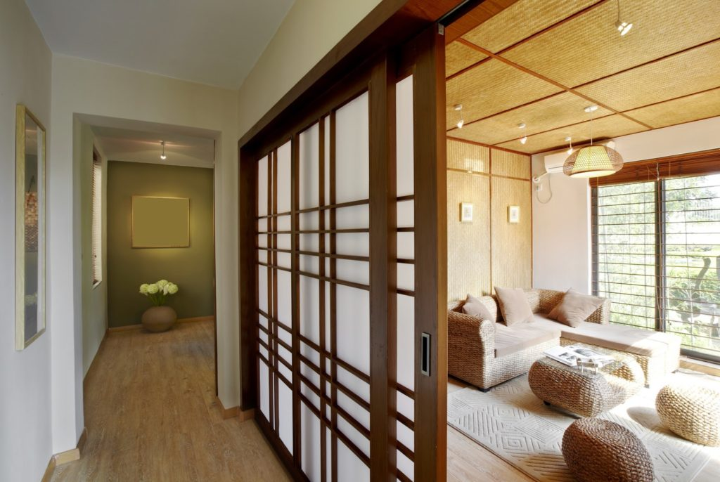 bamboo wall and ceiling treatment