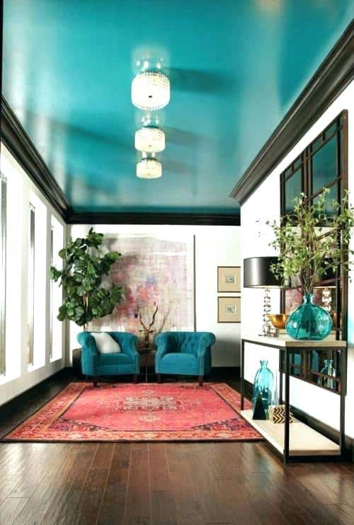 blue painted ceiling