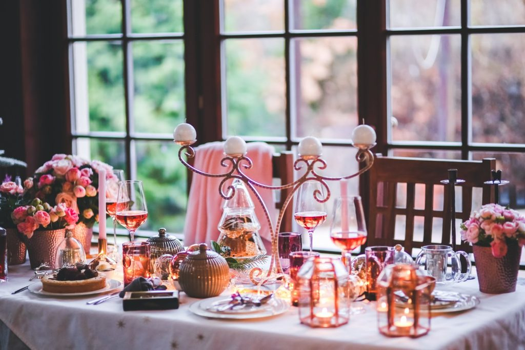 formal table with candles