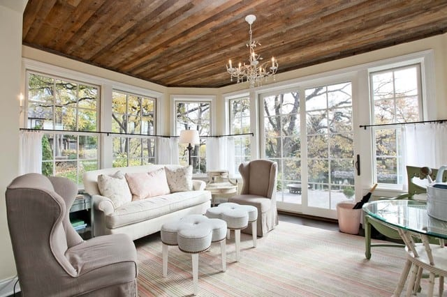 traditional living room with reclaimed wood ceiling